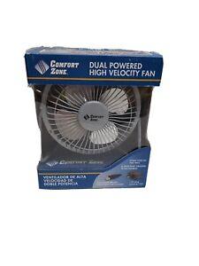 Comfort Zone 4 Inch CZHV4 Dual Powered USB Desk Fan Silver
