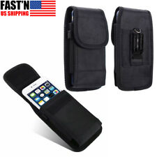 Vertical Nylon Cell Phone Pouch Card Holder Case With Belt Clip Holster Wallet