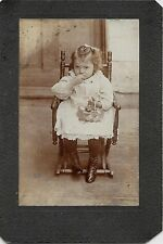 Easter Basket Filled w Candy in Lap of Little Girl c 1890s? Cabinet Photo