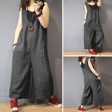 UK 8-24 Women Stripe V Neck Wide Leg Jumpsuits Sleeveless Loose Overalls Trouser