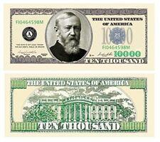 Set of 10 - $10000.00 Benjamin Harrison Casino Party Money