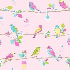 Item 8   HOOPLA PRETTY BIRDS PINK 10m WALLPAPER NEW GIRLS BEDROOM WALL DECOR