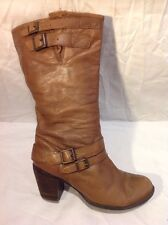 New Look Brown Mid Calf Leather Boots Size 39
