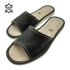 Damen Leder Echtleder Hausschuhe Pantoletten Pantoffeln schwarz EU Ware
