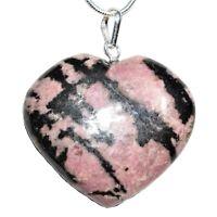 "CHARGED Himalayan Rhodonite Crystal Heart Pendant + 20"" Chain + Selenite"