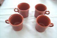 4 Fiesta Coffee Mugs Ring Handle   Brick Red / Paprika HLC Lancaster Ohio