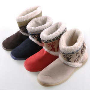 New Girls Women's Deer Printing Warm Snow Shoes Winter Thicken Boots Non-slip