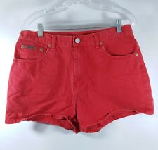 Calvin Klein Red Jean Shorts High Waist Size 11 Vtg 90s Mom Shorts Leather Label