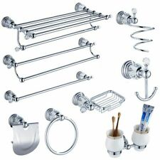 Bathroom Kit Crystal Silver Accessories Shelf Holder Storage Bath Hardware Set