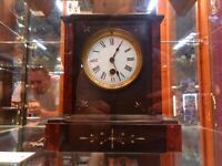 French Black Marble Parlour Mantle Clock (Circa 1890)
