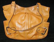 B. Makowsky Shoulder Bag Saddle Light Tan Leather Handbag  Silver Tone Hardware