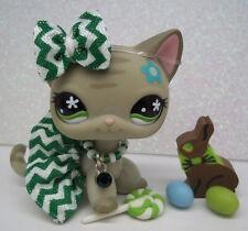 LITTLEST PET SHOP CUTE GRAY FLOWER KITTY CAT #483 BOW SKIRT EASTER ACCESSORIES