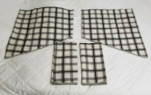 Waverly Black Country Gingham Plaid 4 Piece Tapered Curtain Valance Set