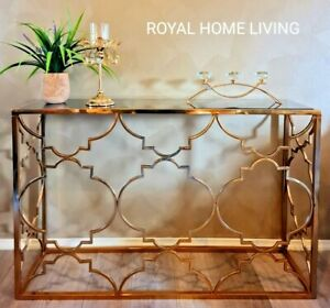 CONSOLE HALLWAY ENTRANCE TABLE STAINLESS STEEL BRASS GOLD WITH BLACK GLASS TOP