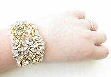 Gold Ivory White Silver Pearl Bridal Bracelet Diamante Cuff Jewellery Vtg 1047