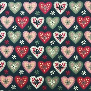 """Hearts Cotton Fabric 45"""" Love Hearts Valentines Ditsy Floral Print Per Metre"""