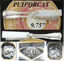 """Antique French PUIFORCAT Sterling Silver 9.75"""" Pastry, Asparagus Tongs, """"Filet"""""""