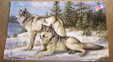 Watchful Pause Wolves Wolf Tapestry Wall Hanging ~ Artist, Joseph Hautman