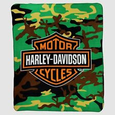 "Harley Davidson CAMO Large Lightweight 50""x60"" Fleece Throw Blanket Motorcycle"