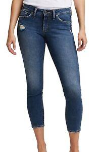 Silver Jeans Co. Women's Jeans Blue Size 32X25 Skinny Capri Stretch $74 #321