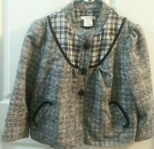 Womans Short Black And White Checked Jacket Size Medium Very Good Condition