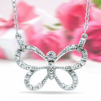 0.30 Ct Round Cut Diamond 14k White Gold Over Womens Butterfly Pendant Necklace