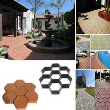 Hexagon Reusable Paving Brick Patio Concrete Garden Walk Path Maker Mould Paver