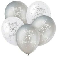 """5 x Happy 25th Anniversary 12"""" Latex Balloons Helium Silver Party Decoration"""