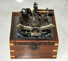 """4"""" Brass Nautical vintage Sextant In Antique With Wooden Box"""