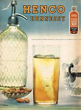 PUBLICITE ADVERTISING 015  1956  HENNESSY  HENCO  pour boire à l'eau