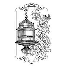 Crafty Individuals FLORAL BIRDCAGE Rubber Stamp