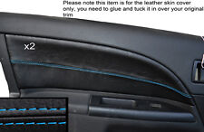 BLUE STITCH 2X FRONT DOOR CARD TRIM SKIN COVERS FITS FORD MONDEO MK3 2001-2007