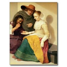 """*Postcard-""""Fortune Teller Lady"""" ...w/Couple Looking At Palm/.../1600's/  (B-450)"""