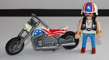 PLAYMOBIL MOTO DE BIKER  AMERICAIN +  MOTARD  EQUIPE BON ETAT