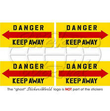 """DANGER KEEP AWAY Helicopter Tail Rotor 50mm (2"""") Vinyl Stickers Decals x4"""