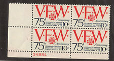 SCOTT # 1525 Vets of Foreign War United States U.S. Stamps MNH- Plate Block of 4