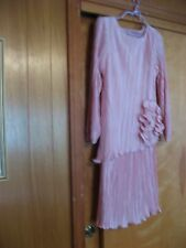 VINTAGE AFTER DARK PINK ACCORDION PLEATED EVENING COCKTAIL TUNIC DRESS