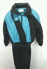 OSSI Snow Bib Vintage Sport Ski Snowboard 1 pc Suit Turquoise/Black Womens  L