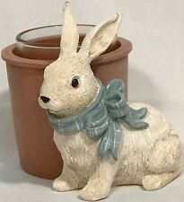 Yankee Candle VINTAGE EASTER BUNNY with BLUE BOW & FLOWER POT VOTIVE HOLDER RARE