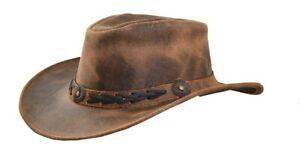 Men's Brown Genuine Leather Cowboy Western Hat