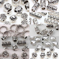 50/100pcs Silver Plated Loose Spacer Beads Charms Jewelry Making Findings DIY