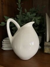 Vintage White Restaurant Ware Pitcher- Farmhouse Look-Unique Round Chunky Shape