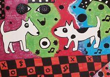 Aceo Bull Terrier Graffiti 2.5 x 3.5 Dog Art Card Mini Print Ksams Collectible