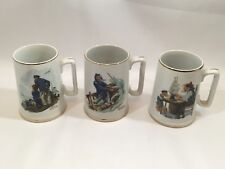 3 Normal Rockwell 1985 Coffee Mug Cup Braving Storm Looking out to Sea Good Boy
