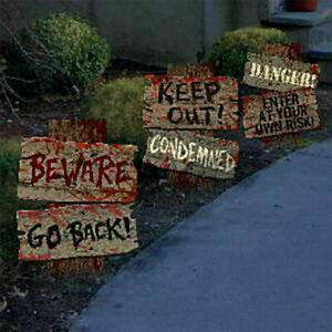 3x Halloween Haunted Yard Distressed Signs Decor Scary Blood Warning DIY Props