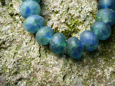 Strang Altglasperlen 20 mm blau/grün/klar - Recycled Glass Beads Ghana Krobo