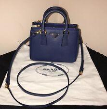 100% authentic New Mini PRADA Saffiano Leather Bag Blue 1BH907