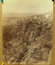antique old PHOTO LEROUX  Arab Muslim AFRICA Constantine cliffs ALGERIA 1890s