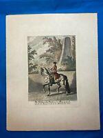 Antique J E RIDINGER Handcolored engraving print, Equestrian DRESSAGE