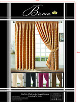 "90"" x 90"" Jacquard Curtains Floral or Checked Square design + Free Tie Backs"